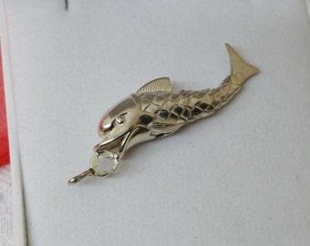 Antique articulated fish pendant carp Koi SK555