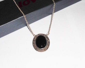 Silver necklace chain necklace with Onyx pendant SK370