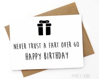 Handmade Funny Birthday Card. Happy 60th Birthday, Card for boyfriend, Card for girlfriend