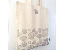 "Handprinted ""Beachcomber"" Shells Fairtrade Cotton Tote"