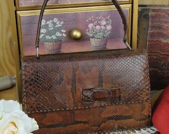 Vintage Snakeskin Handbag/Vintage Leather Handbag/Vintage Snakeskin Pocket Book/ SALE (1926R)