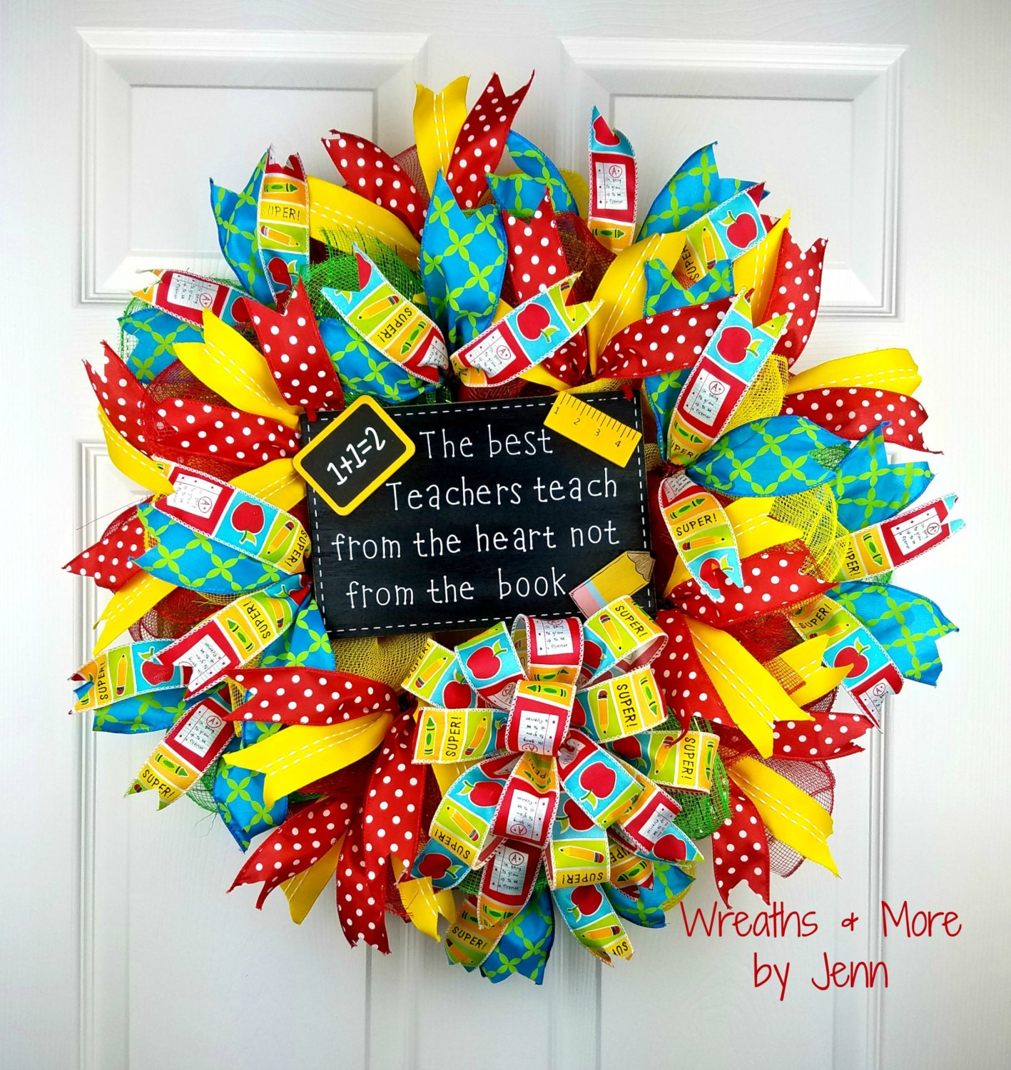 Classroom Wreath Ideas : Teacher wreath back to school deco mesh geo