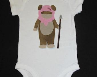 Girl Ewok / Baby Clothes / Star Wars / Hand Sewn /Baby Onesie / Bodysuit