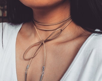 Tan Suede Wrap Choker Necklace with Spike Detailing