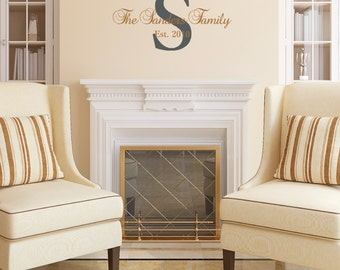 Family Name Wall Decal, Family Monogram Wall Decal, Family Established Date Wall Decal,SALE