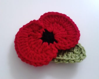 Poppy Flower Pin Crochet Brooch Memorial Day Remembrance Day