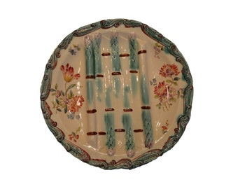 Majolica Asparagus Plate - French Antique Longchamp Cradle - Hand Painted Floral Decor - French Country Cottage Tableware - Dinner Plate