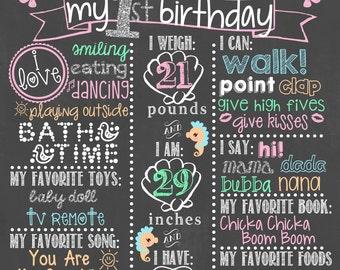 Mermaid Birthday Chalkboard / Under the Sea Theme Chalkboard / Girl First Birthday Chalkboard/ Little Mermaid Chalkboard / DIGITAL FILE ONLY