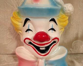 Clown Bank, Schmid Clown Bank, Collectible Clown Bank, Colorful Clown Bank
