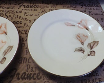 PAIR of vintage (c.1970s) Anfora (Mexico) hand-painted salad/side plates.  Pink roses, greek foliage, gold edge. MINT!
