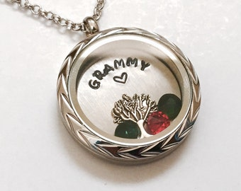 GRAMMY Necklace - Braided Silver Edge or Custom Floating Charm Locket - Memory Locket - Custom Hand Stamped Gift for Mom