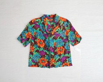 bright floral print blouse / button down shirt / 90s floral shirt