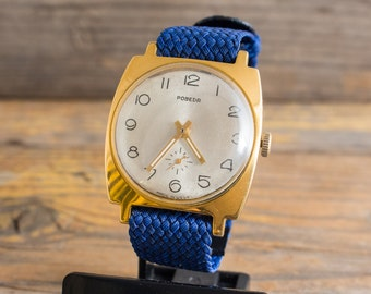 Vintage Pobeda mens watch, vintage gold plated russian watch, vintage mechanical watch, retro watch, casual ussr cccp watch