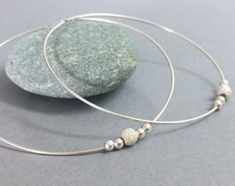 Large Sterling Silver Hoops Extra Large Silver Hoop Earrings Thin Silver Hoops Bohemian Jewelry Handmade Silver Modern Hoop Silver Bead Hoop
