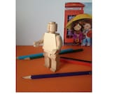 9cm tall Wooden Lego Figure, Lego Mini Figure Wood, Waldorf Push Toy Eco Friendly, Birthday/christmas/any occasion gift for children