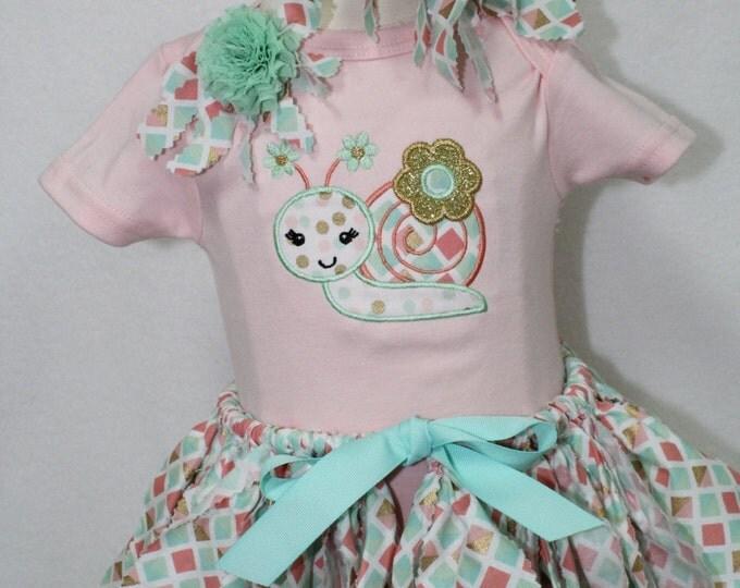 Baby girl Summer outfit, Peach bodysuit, Rag style tutu in Seafoam,peach, white, metallic gold, Snail applique bodysuit, baby girl headband
