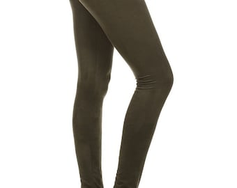 Faux suede leggings with elastic waistband