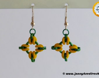 Earrings green yellow, cruciform Chainmaille