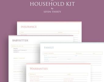 Household Planning Kit / Home Management Binder / Family Printables / Household PDF Printable