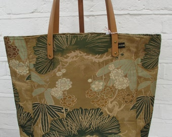 SUMMER SALE - Large Tote - bag made from vintage silk kimono and obi fabric - Gold/Brown/Green