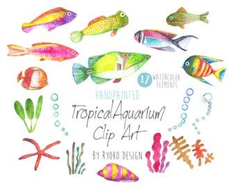 Watercolor Clip art, Tropical Fish, Watercolour, Fish Clip art, Hand Painted Watercolor Clip art collection, Summer