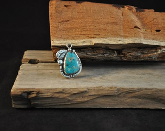 Turquoise pendant in sterling silver Native American Southwestern design jewelry KB1159