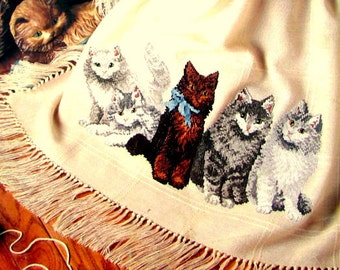 "Cross Stitch Book, By Leisure Arts, Leaflet 2206. ""Purrfect Company"" A Vintage ( 1992) Pattern of Grey/White/Tabby/Tiger Cats.//On SPECIAL!!"