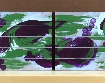 "Small abstract paintings Set of 4, Purple green tan Modern art Contemporary decor Original acrylic art Small wall art ""Royal Wine"" 5x5"" each"