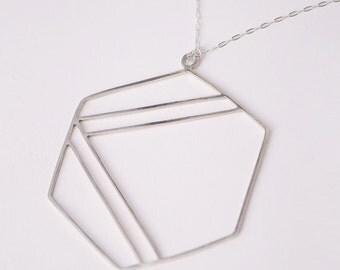 Silver Hexagonal Pendant with Stripes
