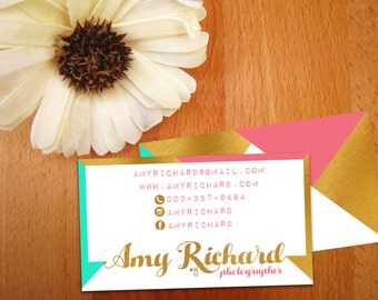 Gold Foil Business cards, Printable Gold Business Card, Chevron, Premade Business Card, Digital Download, Pink, Mint, Gold