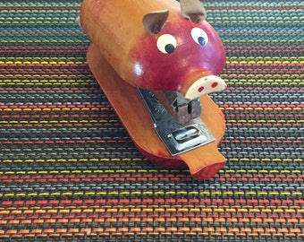 Counterpoint Wood Pig Stapler Japan Figural San Francisco Office Supplies