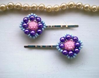 purple hair pins beaded hairpins vintage bobby pins blue hair pins flower hair pins flower bobby pins purple bobby pins purple bobby pin