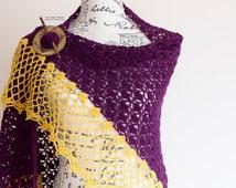 Lace Crochet Shawl - Boho Crochet Scarf - Crochet Triangle Shawl - Wool Scarf - Purple Crochet Shawl - Hippie Scarf