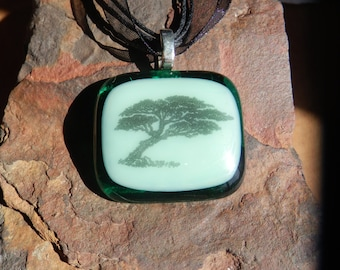 Earthy Fused Green Glass Tree Decal Necklace