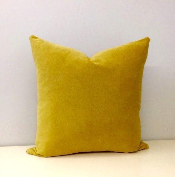 mustard velvet pillow cover mustard pillows by artdecopillow. Black Bedroom Furniture Sets. Home Design Ideas