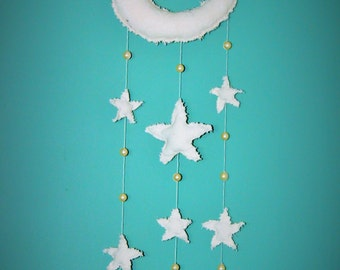 Moon, Stars and Pearls Hanging Mobile. Hand Made Hand Sewn Faerie Mobile .