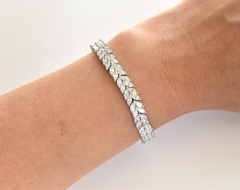 Bridal Bracelet Wedding Bracelet Cubic Zirconia Bracelet Tennis Leaf CZ Bracelet Wedding Accessories
