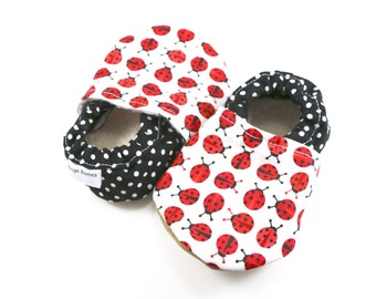 Ladybug baby shoes girl baby booties red soft sole shoes  toddler shoes vegan baby shoes crib shoes ladybug baby clothes