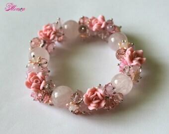 Rose Quartz Bracelet, Pink Wedding Bracelet, Bridal Bracelet, Roses Bracelet, Romantic Bracelet, Flower Bracelet, Pink Charm Bracelet