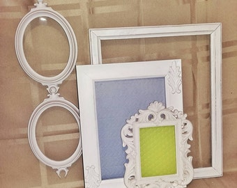 Shabby Chic White Frame Set /Distressed White Frames/Baroque Picture Frame Collection/Oval Frames