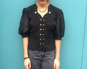 Vintage 80s Black and Gold Blouse Size M