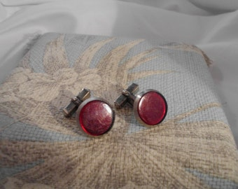 stunning vintage sterling silver and red enmel cuff links