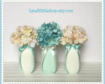 Mason Jars Wedding Decor-Set of 3 Shabby Chic Mason Jars-Home Decor-Wedding Centerpieces-Baby Shower Decor-Shabby Chic Decor-White-Mint