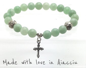 Bracelet beads Jade and cross