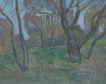 VINTAGE OIL LANDSCAPE Impressionist Original Oil Painting by a listed artist V. Gaiduk 1970s,Signed,Countryside scenes, Soviet Ukrainian Art