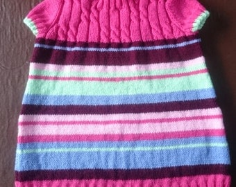 Hand knitted cabled dress/tunic