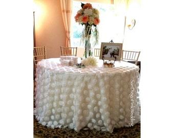 Rosette Pom Overlay, Rosette Pom Tablecloth