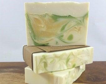 Citrus Basil Handcrafted Soap - Bar Soap - Vegan Soap - Cold Process Soap - Neutral Scented Soap - Lime Soap - Citrus Soap