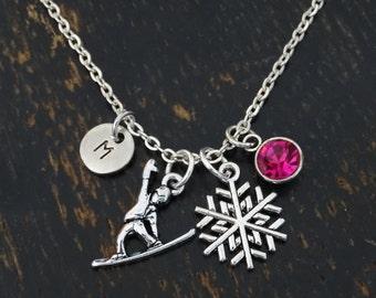 Snowboard Necklace, Snowboard Charm, Snowboard Pendant, Snowboard Jewelry, Snowboarder Necklace, Snowboarder Girl, Winter Jewelry,Snow Board