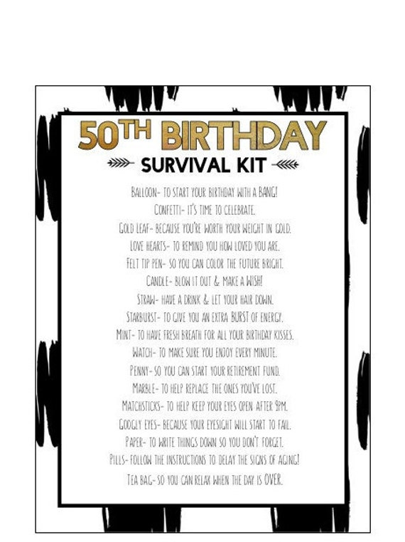 50th birthday survival kit